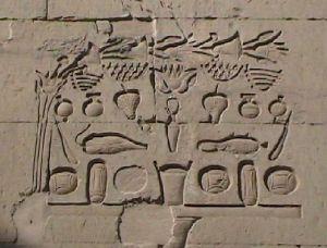 Kom Ombo Spiegelbildlich Opfergaben -Hieroglyphe htp = Opfer